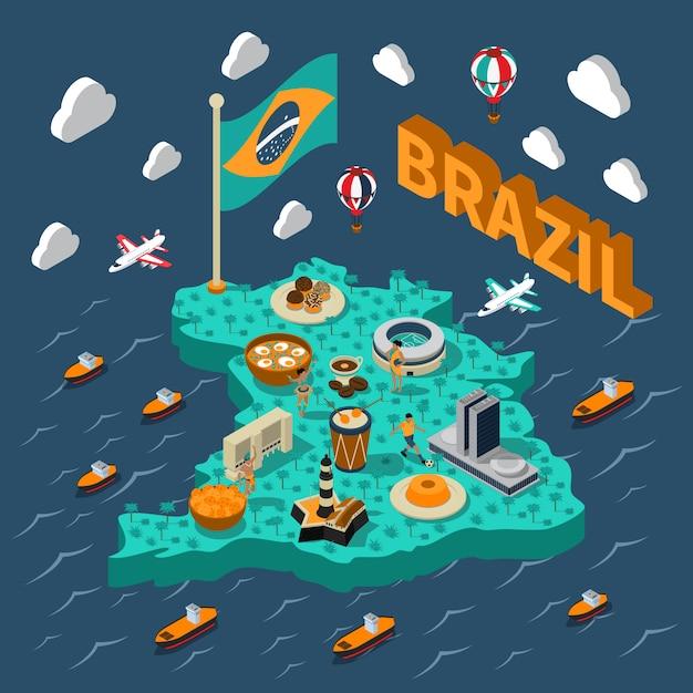 Mapa isométrico do brasil Vetor grátis