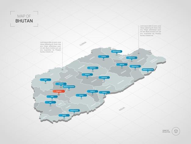 Mapa isométrico do butão. ilustração de mapa estilizado com cidades, fronteiras, capitais, divisões administrativas e marcas indicadoras; fundo gradiente com grade. Vetor Premium