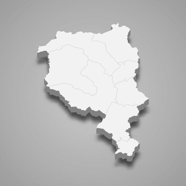 Mapa isométrico do ticino é um cantão da suíça Vetor Premium