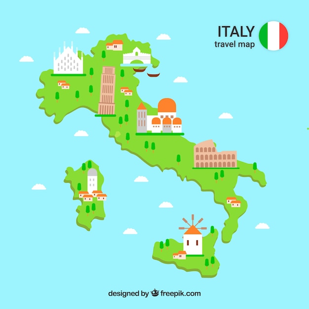 Mapa italiano Vetor grátis
