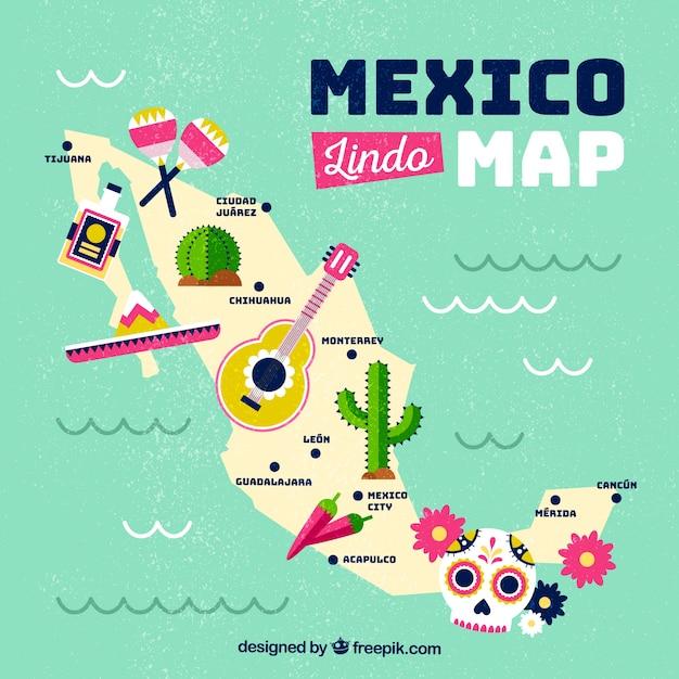 Mapa mexicano com elementos culturais Vetor grátis