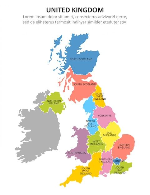 Mapa multicolorido do reino unido com regiões. Vetor Premium