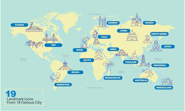 Mapa-múndi com famoso símbolo de marco do país Vetor Premium