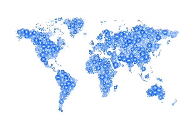 Mapa-mundi composto de modernos círculos azuis de tamanhos diferentes com brilhantes brilhantes em branco Vetor Premium