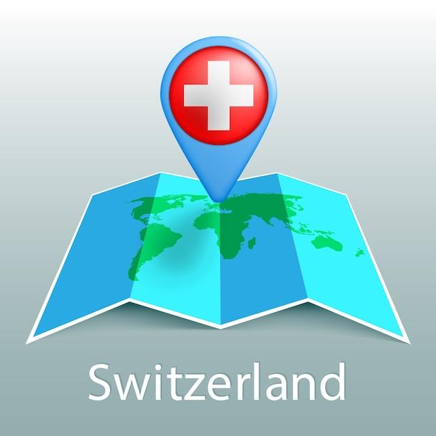 Mapa-múndi da bandeira da suíça em um alfinete com o nome do país em fundo cinza Vetor Premium