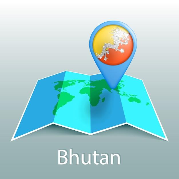 Mapa-múndi da bandeira do butão em um alfinete com o nome do país em fundo cinza Vetor Premium