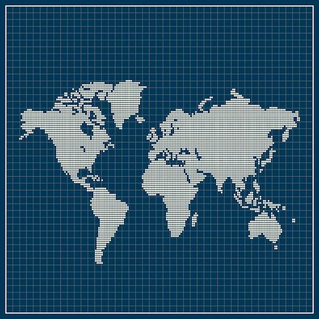 Mapa-múndi pontilhada sobre fundo azul Vetor Premium