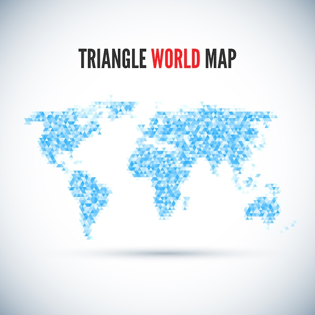 Mapa-múndi triângulo Vetor Premium