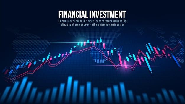 Mapa mundial com gráfico em conceito futurista adequado para investimento financeiro ou ideia de negócios de tendências econômicas e todo o design de trabalho de arte. fundo financeiro abstrato Vetor Premium
