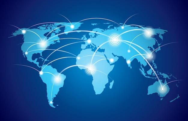Mapa mundial com tecnologia global ou rede de conexão social com ilustração vetorial de nós e nós Vetor grátis