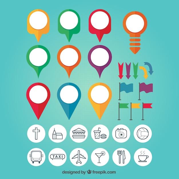 Mapa pin set colorida Vetor Premium