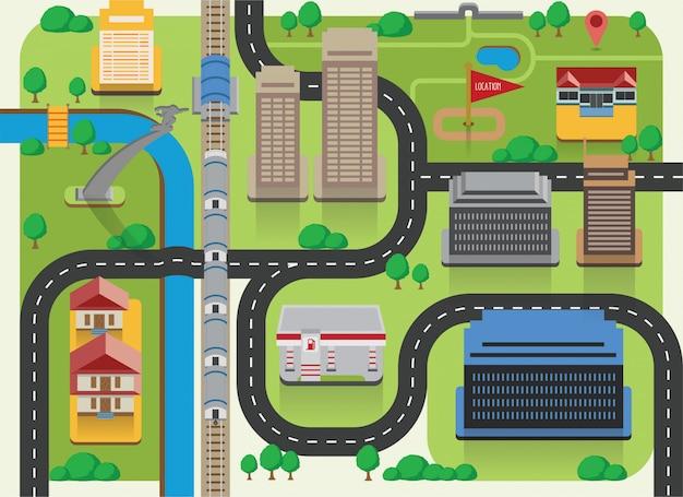 Mapa plano eco cidade direção com ícones de construção Vetor Premium