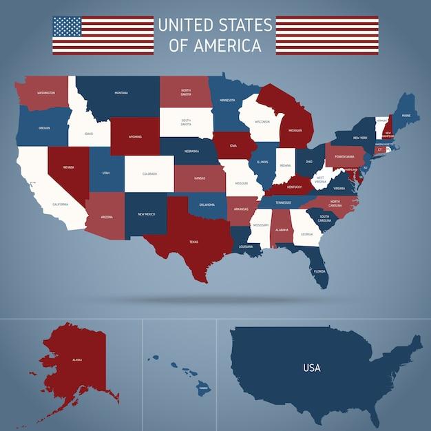 Mapa político dos eua Vetor grátis