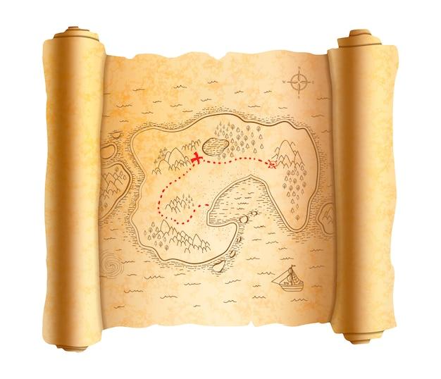 Mapa realista pirata antigo da ilha no pergaminho antigo com caminho vermelho para o tesouro Vetor Premium
