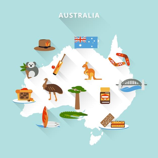 Mapa turístico australiano Vetor grátis