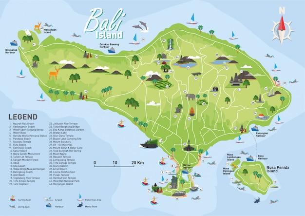 Mapa turístico de bali Vetor Premium