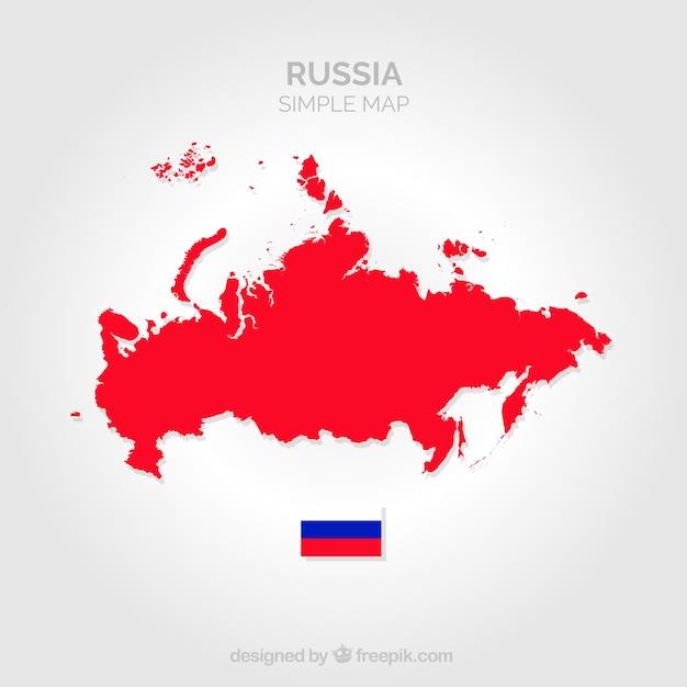 Mapa vermelho da rússia Vetor Premium