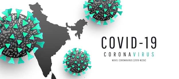 Mapas de coronavírus, disseminação de coronavírus em fundo branco. , mapa da índia mundial coronavirus ou covid-19 Vetor Premium