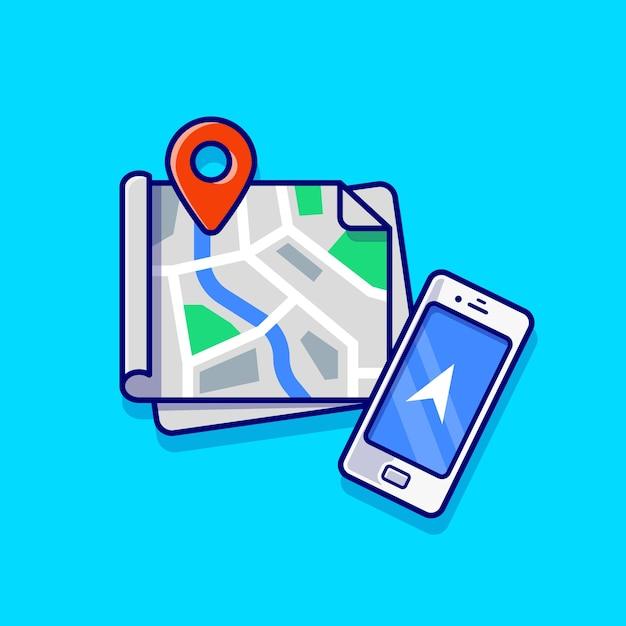 Mapas localização e ilustração do ícone dos desenhos animados do telefone. conceito de ícone de tecnologia de transporte isolado. estilo flat cartoon Vetor grátis