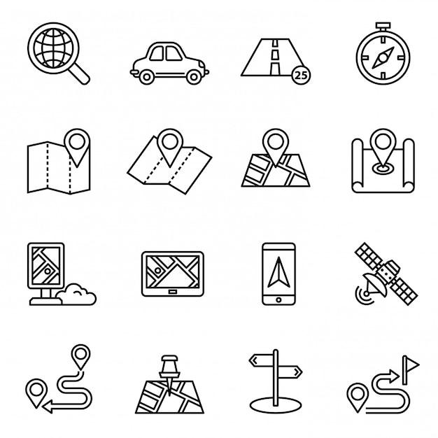 Mapas, localização e navegação conjunto de ícones. Vetor Premium