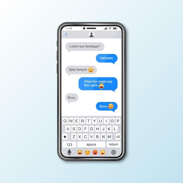 Maquete com smartphone com janela do messenger para mídias sociais Vetor Premium