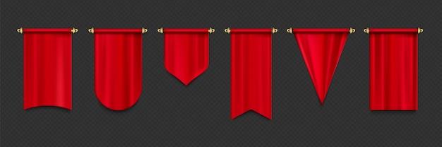Maquete de bandeiras vermelhas Vetor grátis