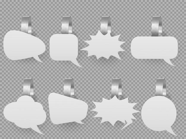 Maquete de bolhas de discurso wobbler, preço pop-up tags Vetor grátis