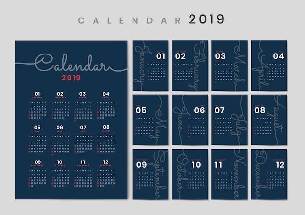 Maquete de calendário de design cursivo Vetor grátis
