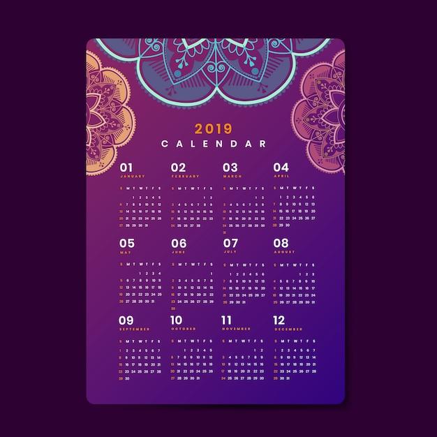 Maquete de calendário de mandala Vetor grátis