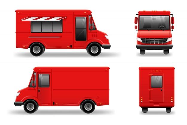 Maquete de caminhão de comida vermelha em branco para veículo marca, publicidade, identidade corporativa. publicidade em transporte. Vetor Premium