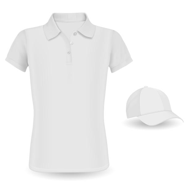 Maquete de camisa polo. tshirt de vetor e boné de beisebol Vetor Premium