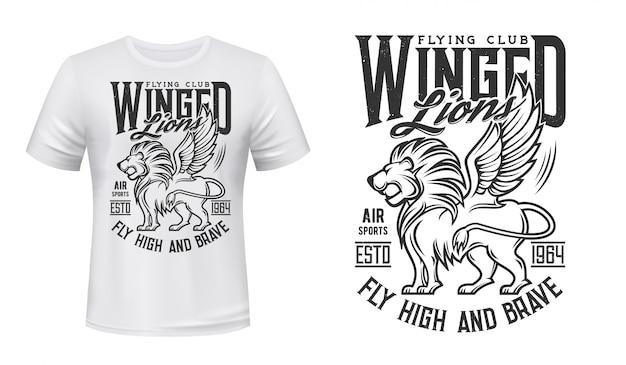 Maquete de camiseta com estampa de leão, clube de vôo da aviação Vetor Premium