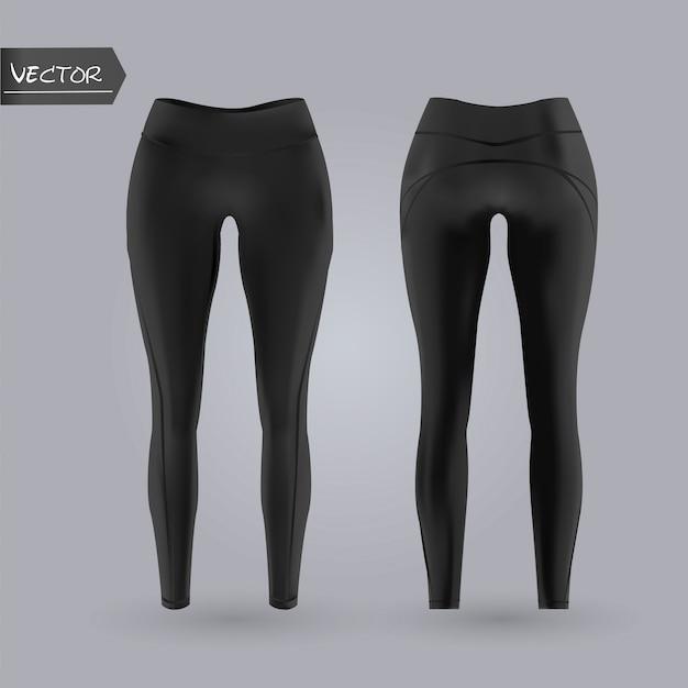 Maquete de caneleiras femininas na frente e vista traseira, isolado em um fundo cinza. ilustração em vetor realista 3d. Vetor Premium