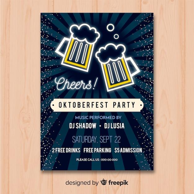 Maquete de cartaz oktoberfest em design plano Vetor grátis