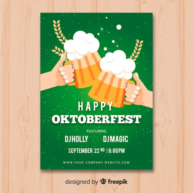 Maquete de cartaz plana oktoberfest Vetor grátis