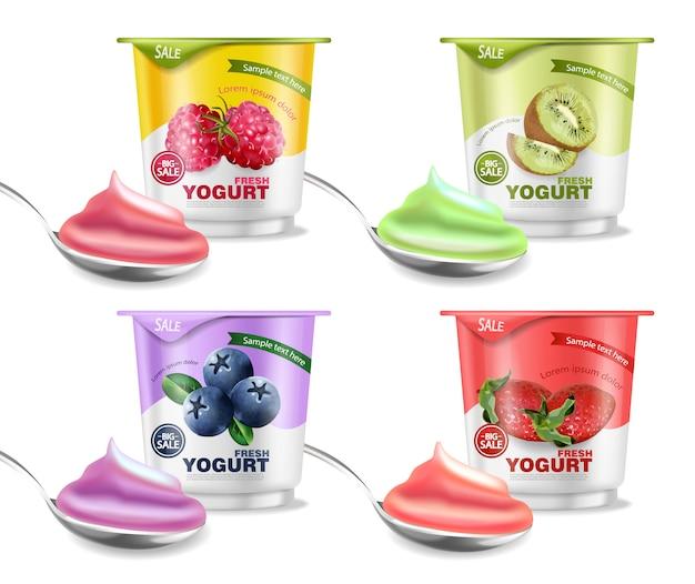 Maquete de coleção de iogurte de frutas Vetor Premium