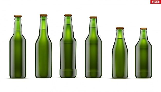 Maquete de conjunto de garrafa de cerveja artesanal Vetor Premium
