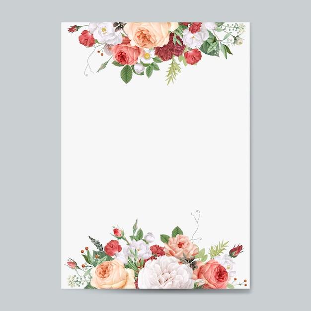Maquete de convite de casamento design floral Vetor grátis