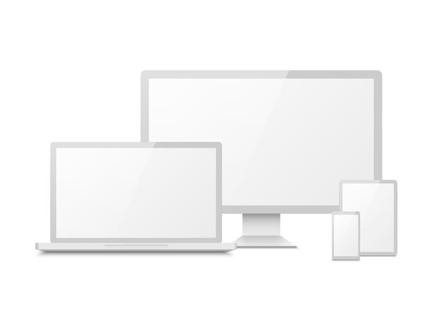 Maquete de dispositivo branco. tablet laptop smartphone tela computador pc display. dispositivos eletrônicos multimídia touchscreen 3d Vetor Premium