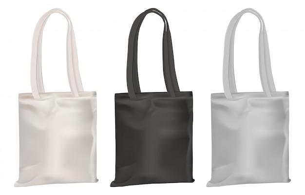 Maquete de eco tote. saco de lona de algodão compras em branco Vetor Premium