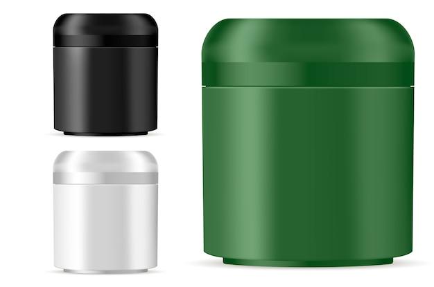 Maquete de frasco cosmético para creme, pomada, pó Vetor Premium