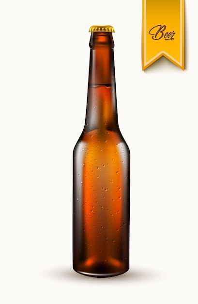 Maquete de garrafa de cerveja realista de vetor Vetor Premium