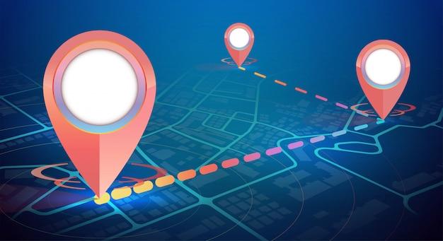 Maquete de ícone de gps no mapa da cidade 3 pontos conectar Vetor Premium
