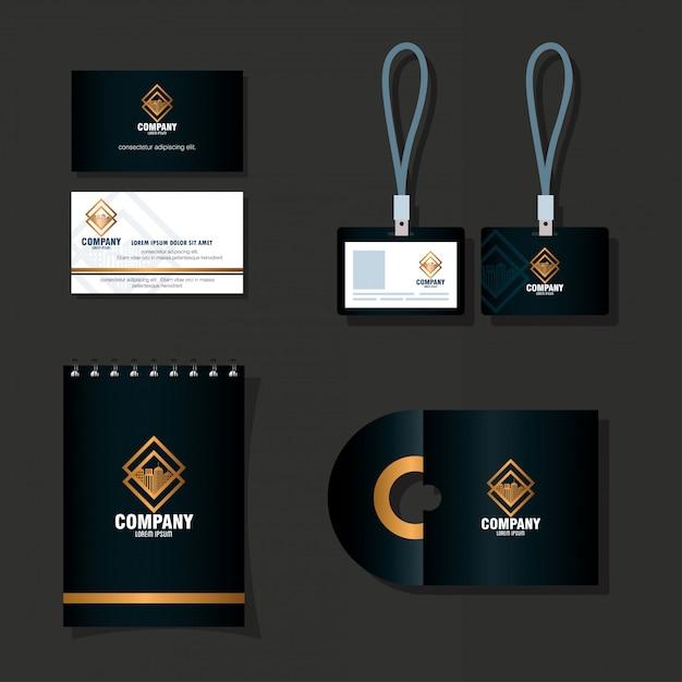 Maquete de identidade corporativa da marca, maquete de material de papelaria, design de ilustração vetorial de cor preta Vetor Premium