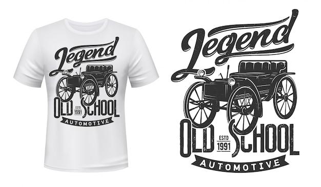 Maquete de impressão de t-shirt de carros antigos, automóvel retrô Vetor Premium