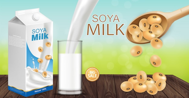 Maquete de leite de soja Vetor Premium