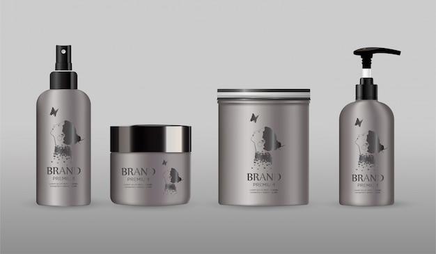 Maquete de metal em branco pacote cosmético isolado em cinza Vetor Premium