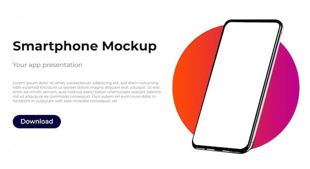 Maquete de modelo realista smartphone para apresentação de experiência do usuário. Vetor Premium