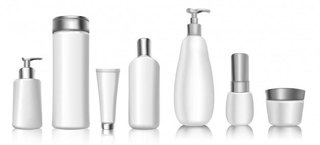 Maquete de modelos realista em branco pacote cosmético 3d de recipientes de plástico brancos macios. Vetor Premium
