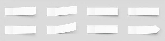 Maquete de notas auto-adesivas realista, postar adesivos com sombras isoladas em um fundo cinza. fita adesiva de papel com sombra. fita adesiva de papel, espaços em branco vazios do escritório do retângulo Vetor Premium